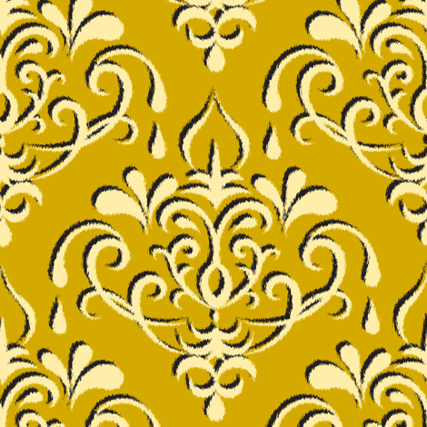 ikat damask large - gold w/ shadow fabric by ravynka on Spoonflower - custom fabric