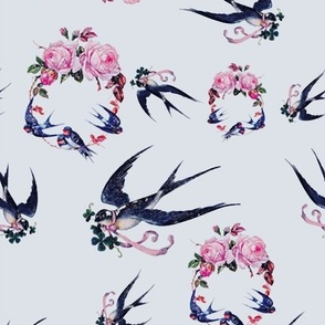 Swallows and Roses