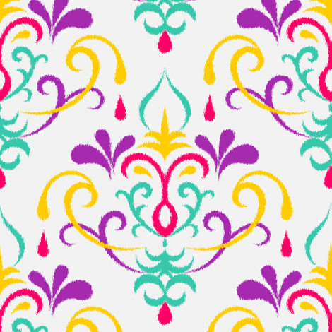 Ikat damask large - multicolor fabric by ravynka on Spoonflower - custom fabric