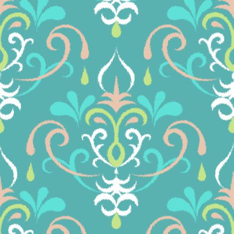 Ikat damsk large - pastel teals fabric by ravynka on Spoonflower - custom fabric