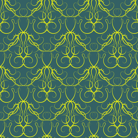 gothic scrolls teal and lime fabric by ravynka on Spoonflower - custom fabric
