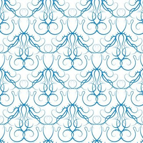 gothic scrolls blue on white