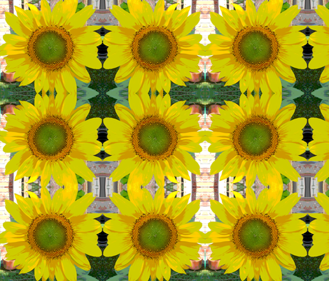 Cartoon Sunflower fabric by carmenscottagecreations on Spoonflower - custom fabric