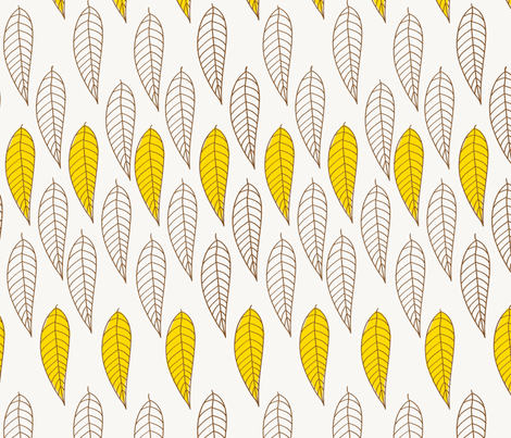 golden leaves  fabric by fable_design on Spoonflower - custom fabric