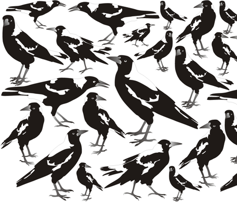 Magpie Black n White fabric by smuk on Spoonflower - custom fabric