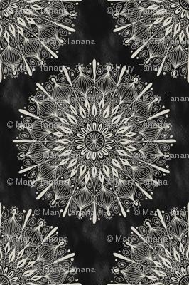 Vintage Mandala on Black