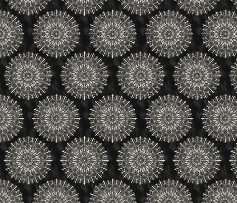 Vintage Mandala on Black fabric by groovity on Spoonflower - custom fabric