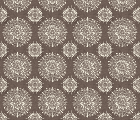 Mandala1-cream_on_warm_grey fabric by groovity on Spoonflower - custom fabric