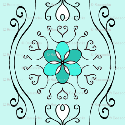 Delicate Wavy Stripe - aqua