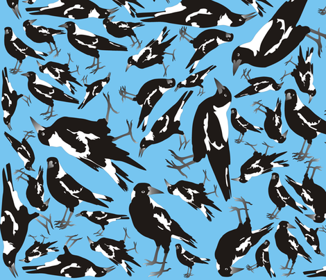 Magpie Oasis fabric by smuk on Spoonflower - custom fabric