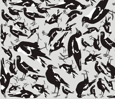 Monochrome Magpies fabric by smuk on Spoonflower - custom fabric