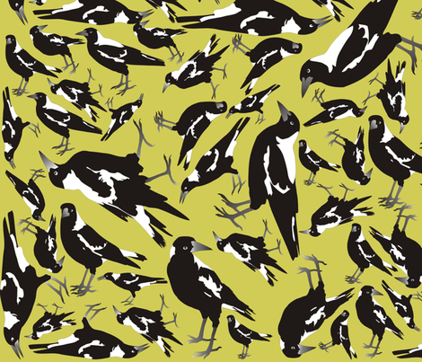 Magpies on Drought Dry Grass fabric by smuk on Spoonflower - custom fabric