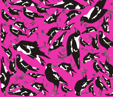 Magpies in the Candy fabric by smuk on Spoonflower - custom fabric