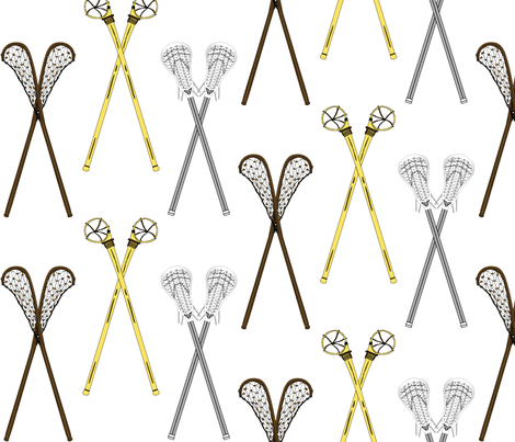 Crossed Lacrosse Sticks fabric by dd_baz on Spoonflower - custom fabric