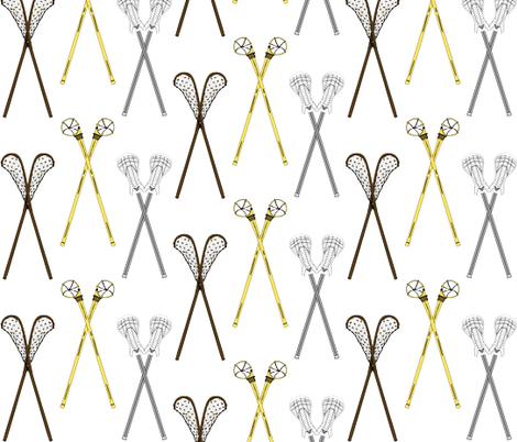 Crossed Lacrosse Sticks fabric by dd_baz on Spoonflower - custom fabric