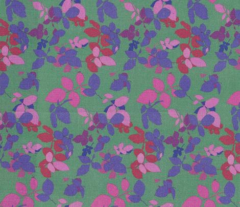 Roses Leaves Ditsy Violet