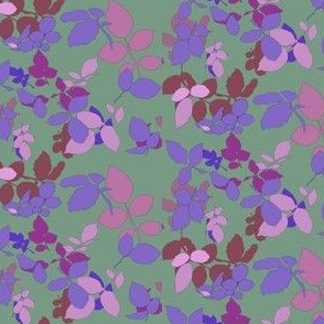 Roses Leaves Ditsy Violet