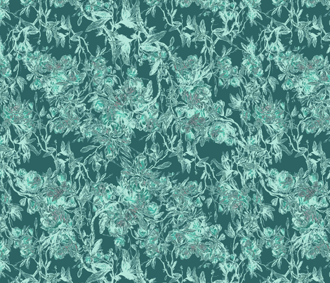 antique floral green fabric by kociara on Spoonflower - custom fabric