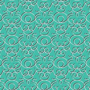 Scrolls design - turquoise w/ shadow