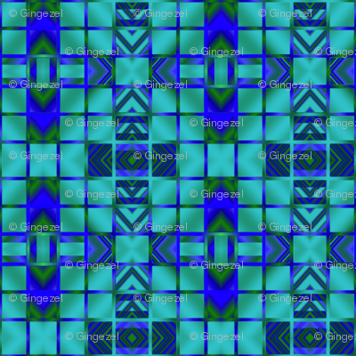 Lagoon Blue Digital Mosaic © Gingezel™ 2013