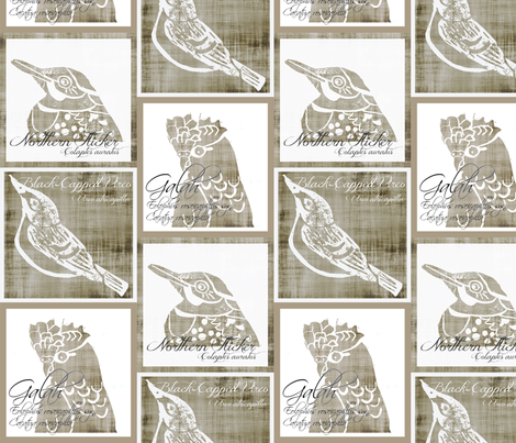 Birds - Panels/Pillows - Linen/White fabric by owlandchickadee on Spoonflower - custom fabric