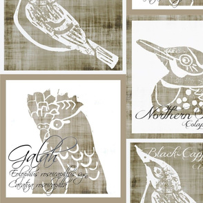 Birds - Panels/Pillows - Linen/White
