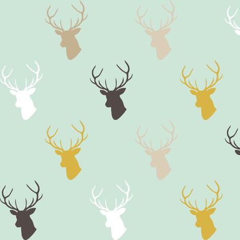 Deer In Mint half scale fabric by mrshervi on Spoonflower - custom fabric