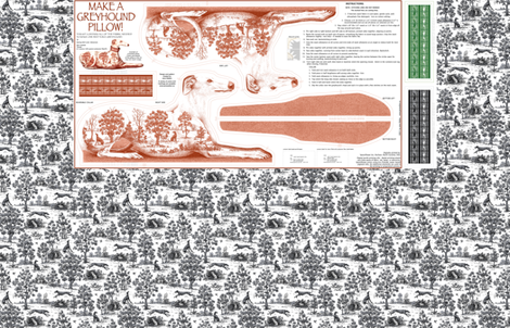 Red Toile Greyhound stuffed pillow kit - male fabric by artbyjanewalker on Spoonflower - custom fabric