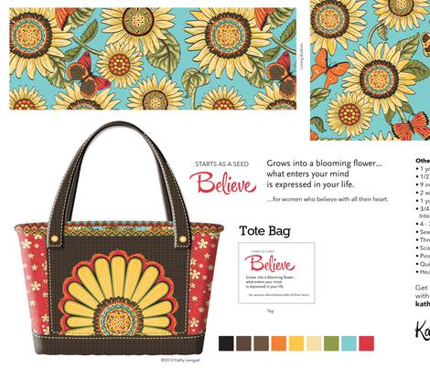 tote_bag_believe_brown fabric by mindsthatcreate on Spoonflower - custom fabric
