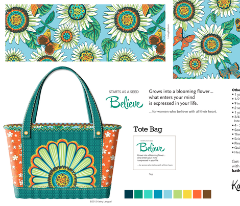 tote_bag_believe_emerald fabric by mindsthatcreate on Spoonflower - custom fabric
