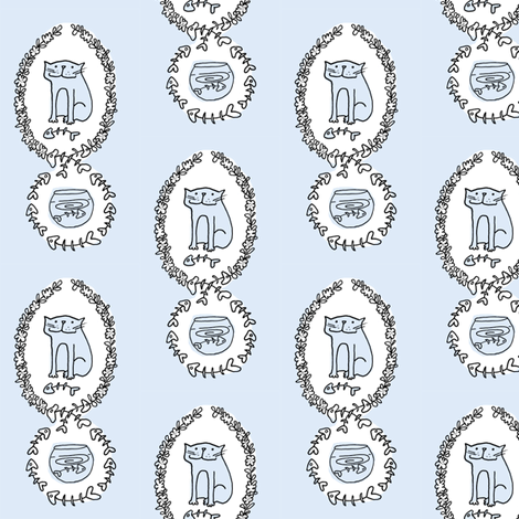 'Bad Kitty' Fish Toile (sky blue) fabric by pattyryboltdesigns on Spoonflower - custom fabric