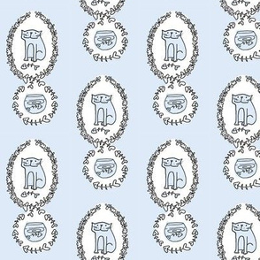 'Bad Kitty' Fish Toile (sky blue)