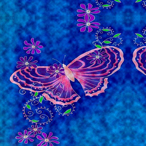 pink butterfly on blue fabric by krs_expressions on Spoonflower - custom fabric