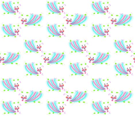 Catbirds Three fabric by anniedeb on Spoonflower - custom fabric