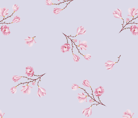almond Blossoms_lila fabric by edrouga on Spoonflower - custom fabric