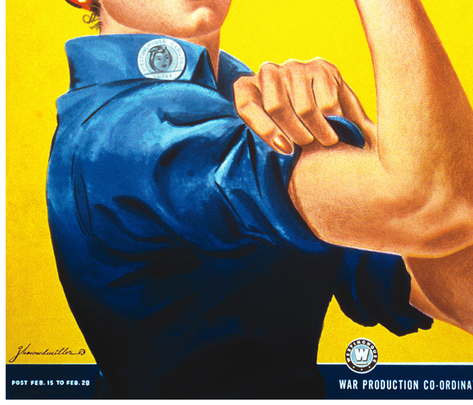 Rosie-the-Riveter single image fabric by kissedquilts on Spoonflower - custom fabric