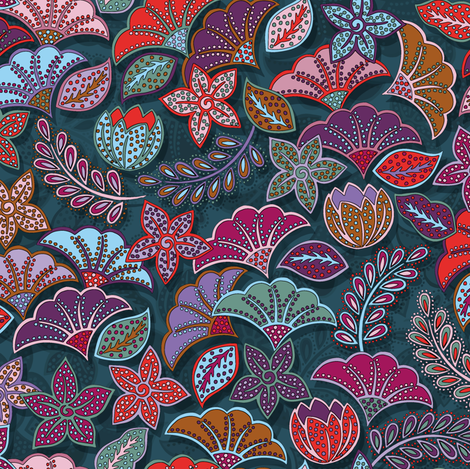 Flower power fabric by cassiopee on Spoonflower - custom fabric