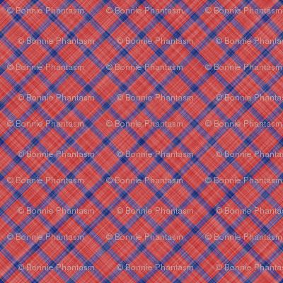 Grid Plaid Linen - Blue Red
