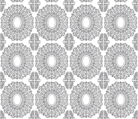Lace Floral Medallion in Gray fabric by fridabarlow on Spoonflower - custom fabric