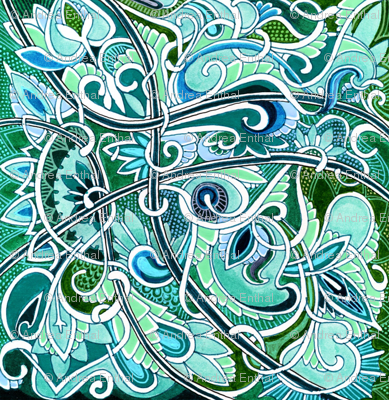 Revenge of the Teal and Aqua Swirly Curly Paisley Monster