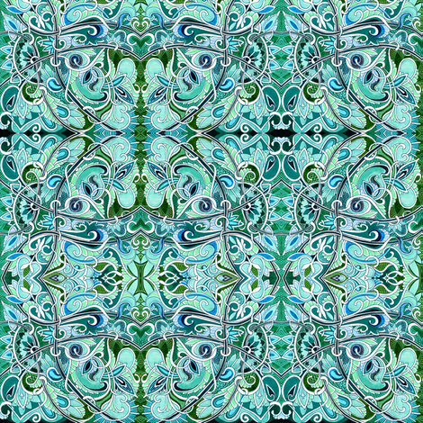 Revenge of the Teal and Aqua Swirly Curly Paisley Monster fabric by edsel2084 on Spoonflower - custom fabric