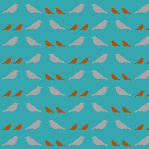 gray and orange mama and daddy birds on teal