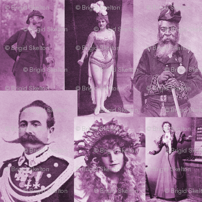 Magazine Portraits Collage: Mauve