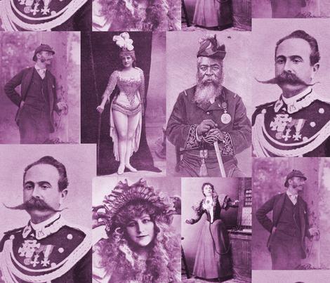 Magazine Portraits Collage: Mauve fabric by callioperosehandcarjones on Spoonflower - custom fabric