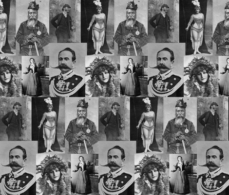 Magazine Portraits Collage: Greyscale fabric by callioperosehandcarjones on Spoonflower - custom fabric