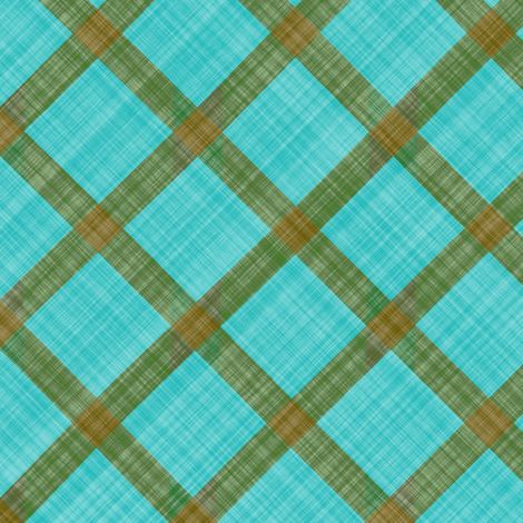 Grid Plaid Linen - Brown Turquoise fabric by bonnie_phantasm on Spoonflower - custom fabric