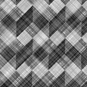 Argyle Checker Plaid Linen - Black White