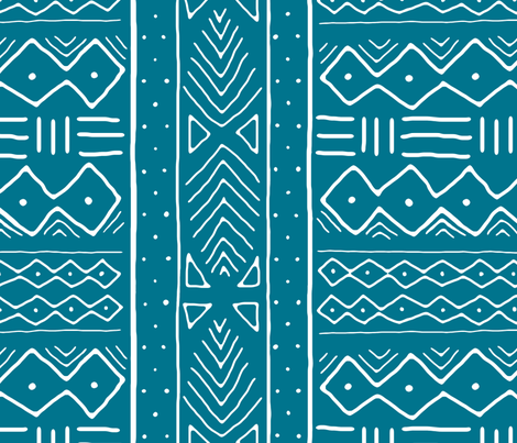 Mudcloth in white on oasis fabric by domesticate on Spoonflower - custom fabric