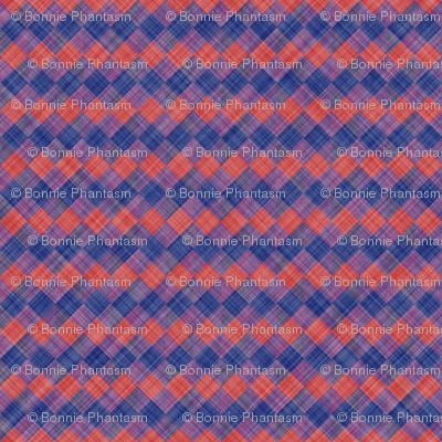 Argyle Checker Plaid Linen - Blue Red