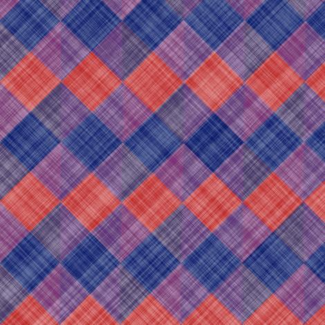 Argyle Checker Plaid Linen - Blue Red fabric by bonnie_phantasm on Spoonflower - custom fabric